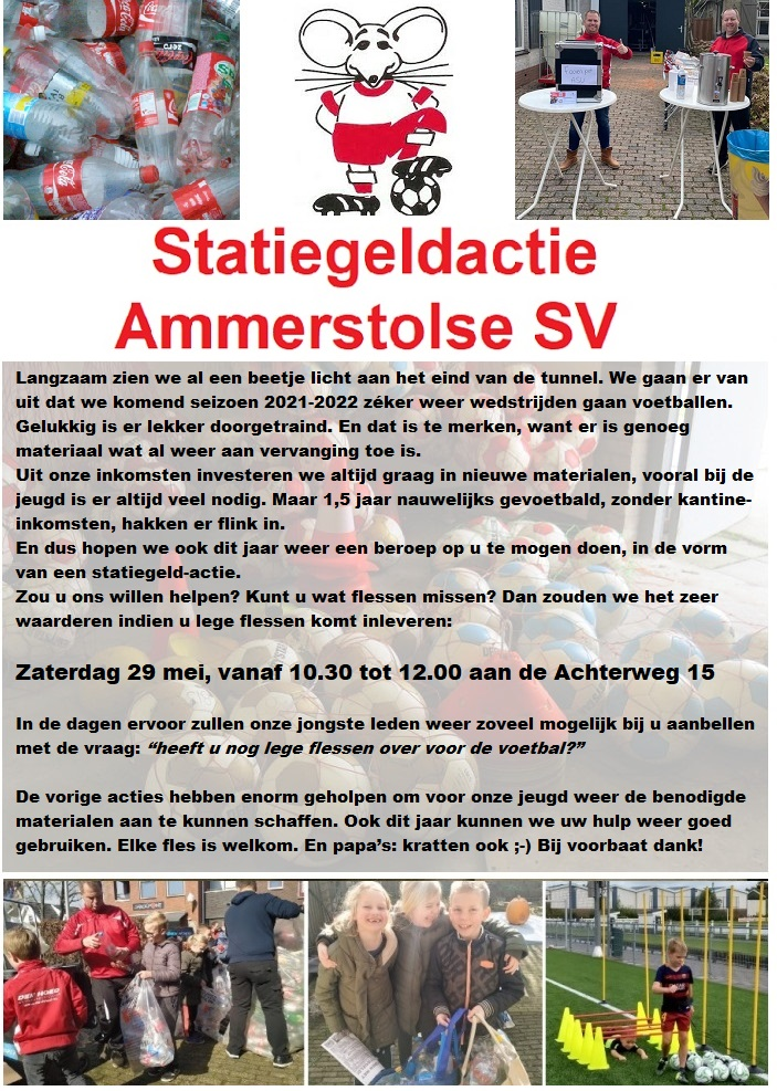 29 Mei as: statiegeldactie Ammerstolse SV